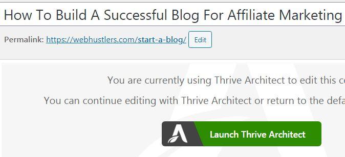 Thrive arhitect plugin
