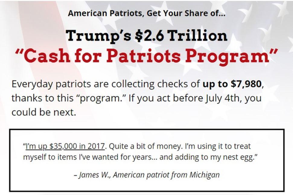 cash for patriots program homepage