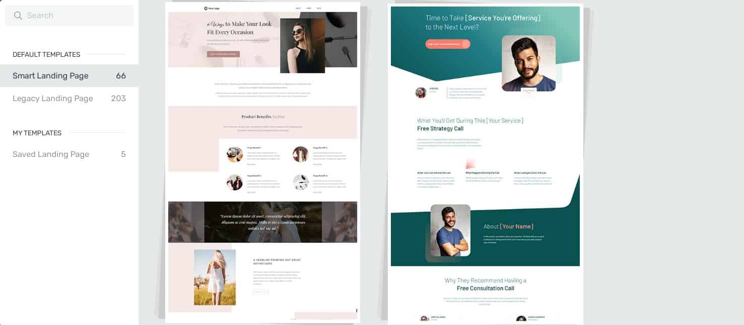 landing pages thrive architect