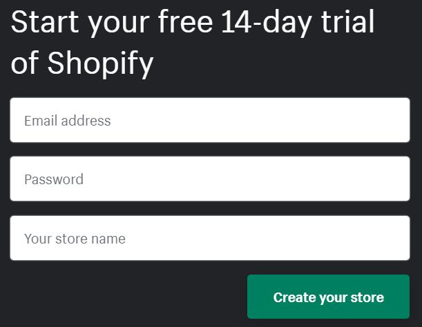 signup shopify